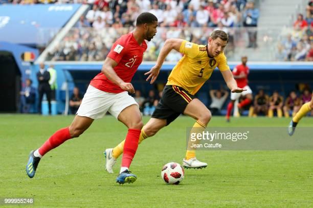 Ruben LoftusCheek of England Jan Vertonghen of Belgium during the 2018 FIFA World Cup Russia 3rd Place Playoff match between Belgium and England at...