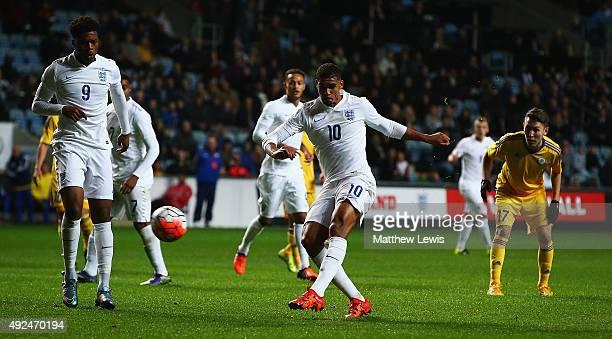 Ruben LoftusCheek of England scores a goal during the European Under 21 Qualifier match between England U21 and Kazakhstan U21 at Ricoh Arena on...