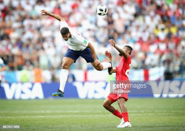 Ruben Loftus-Cheek of England wins a header over Anibal Godoy of Panama during the 2018 FIFA World Cup Russia group G match between England and...