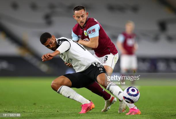 Ruben Loftus-Cheek of Fulham battles for possession with Josh Brownhill of Burnley during the Premier League match between Fulham and Burnley at...
