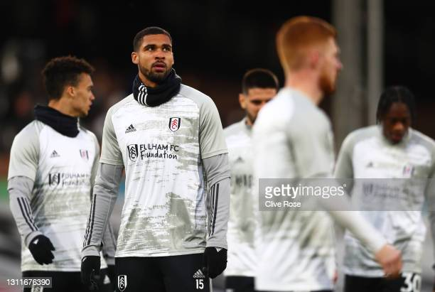 Ruben Loftus-Cheek of Fulham looks on during his warm up prior to the Premier League match between Fulham and Wolverhampton Wanderers at Craven...
