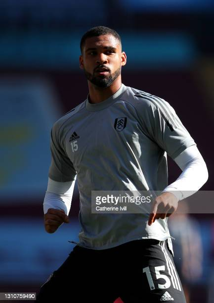 Ruben Loftus-Cheek of Fulham warms up prior to the Premier League match between Aston Villa and Fulham at Villa Park on April 04, 2021 in Birmingham,...