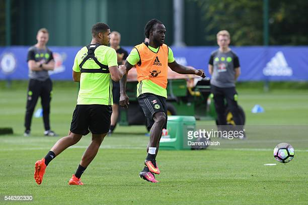Ruben LoftusCheek Victor Moses during a Chelsea training session at Chelsea Training Ground on July 12 2016 in Cobham England