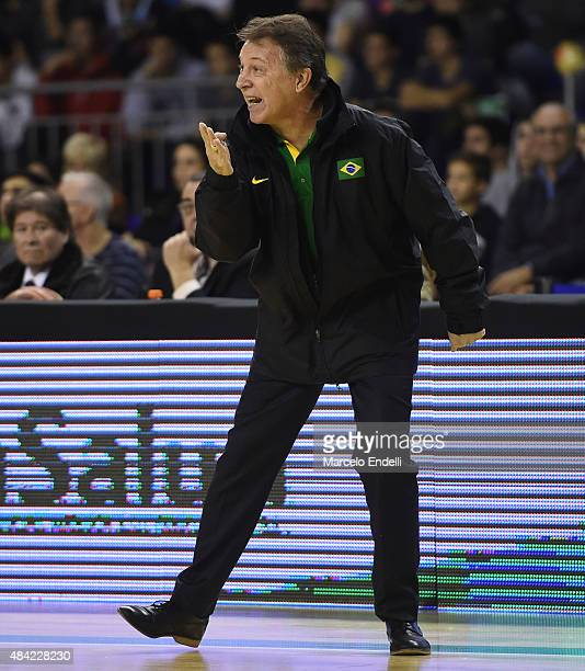 Ruben Magnano coach of Brazil reacts during a match between Argentina and Brazil as part of Four Nations Championship at Tecnopolis Stadium on August...