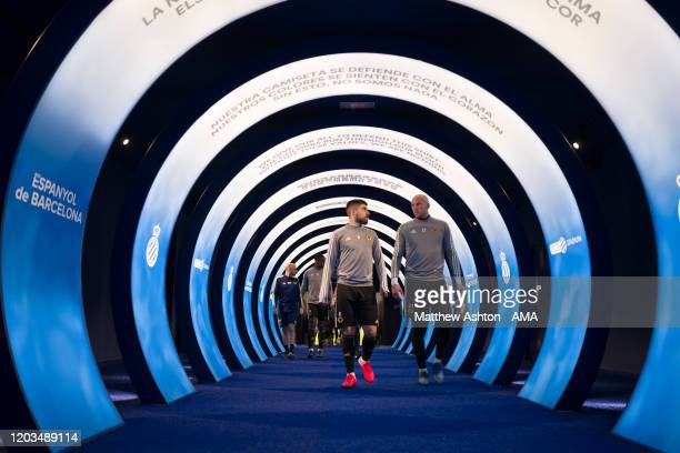 Ruben Neves and John Ruddy of Wolverhampton Wanderers walk down the tunnel during a training session in the RCDE Stadium home of Espanyol prior to...