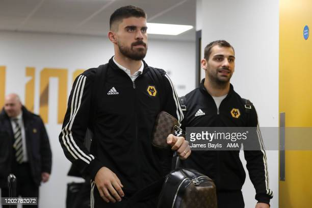 Ruben Neves and Jonny of Wolverhampton Wanderers arrive at the stadium before the Premier League match between Wolverhampton Wanderers and Norwich...