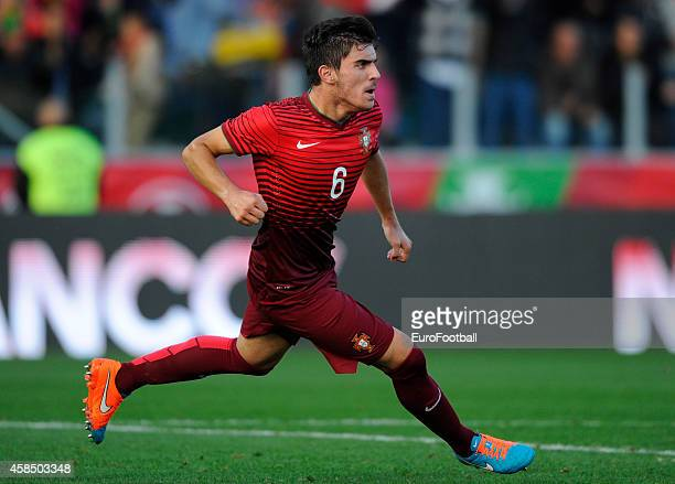 Ruben Neves of Portugal celebrates during the UEFA U21 Championship second leg playoff between Portugal and Netherlands at the Mata Real Stadium on...