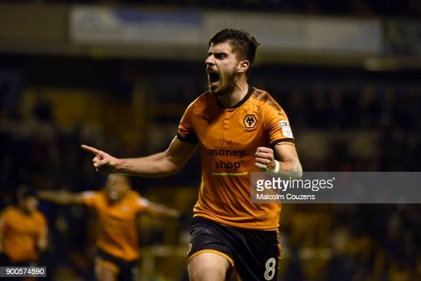 Ruben Neves of Wolverhampton celebrates scoring the first goal of the game during the Sky Bet Championship match between Wolverhampton and Brentford...