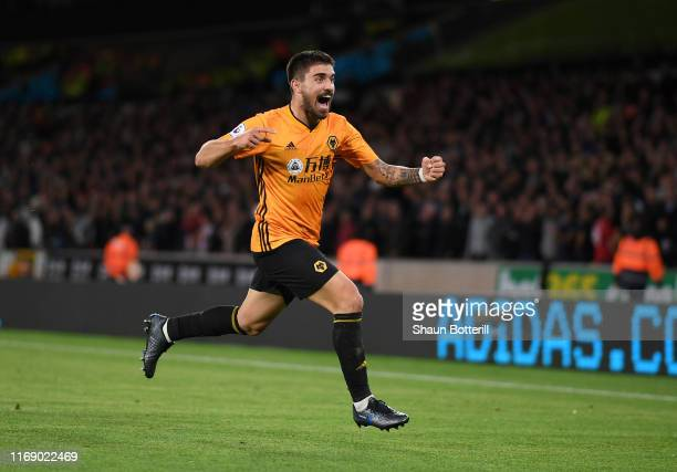 Ruben Neves of Wolverhampton Wandererers celebrates after scoring during the Premier League match between Wolverhampton Wanderers and Manchester...