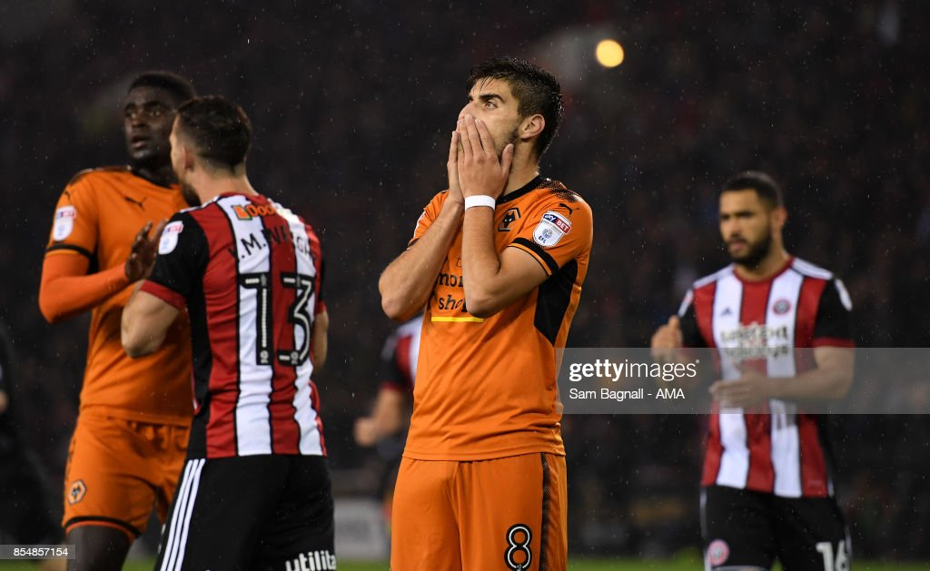 Ruben Neves of Wolverhampton Wanderers after missing a penalty kick during the Sky Bet Championship match between Sheffield United and Wolverhampton at Bramall Lane on September 27, 2017 in Sheffield, England.