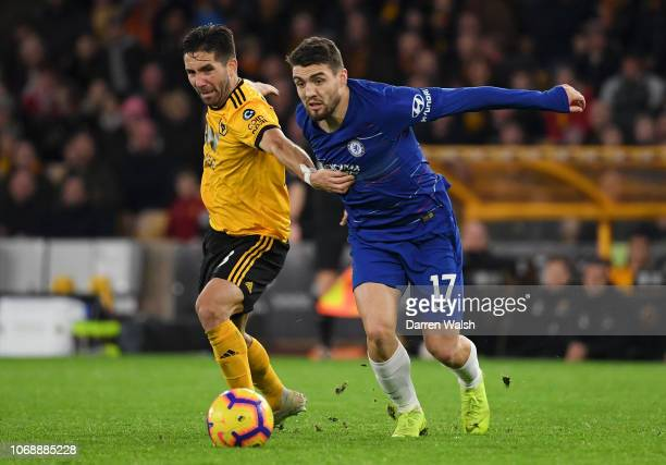 Ruben Neves of Wolverhampton Wanderers and Mateo Kovacic of Chelsea during the Premier League match between Wolverhampton Wanderers and Chelsea FC at...