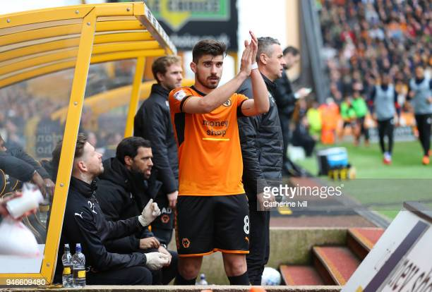 Ruben Neves of Wolverhampton Wanderers applauds after he is substituted during the Sky Bet Championship match between Wolverhampton Wanderers and...