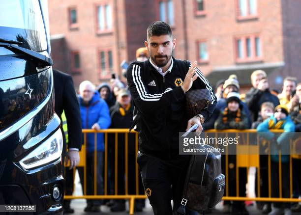 Ruben Neves of Wolverhampton Wanderers arrives at the stadium prior to the Premier League match between Wolverhampton Wanderers and Norwich City at...