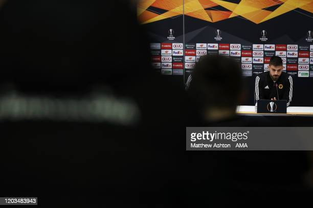Ruben Neves of Wolverhampton Wanderers at the Press Conference prior to the UEFA Europa League round of 32 second leg match between Espanyol...