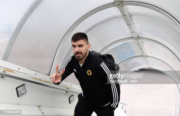 Ruben Neves of Wolverhampton Wanderers boards the plane for Athens Greece ahead of the UEFA Europa League round of 16 first leg match between...