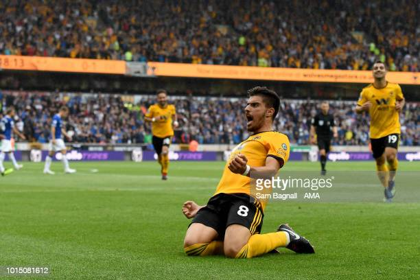 Ruben Neves of Wolverhampton Wanderers celebrates after scoring a goal to make it 11 during the Premier League match between Wolverhampton Wanderers...