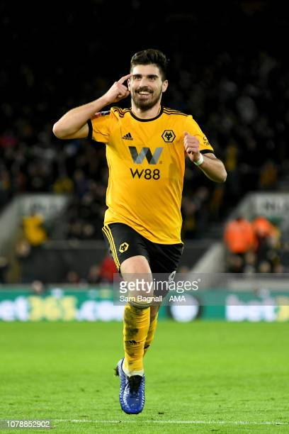 Ruben Neves of Wolverhampton Wanderers celebrates after scoring a goal to make it 21 during the Emirates FA Cup Third Round match between...