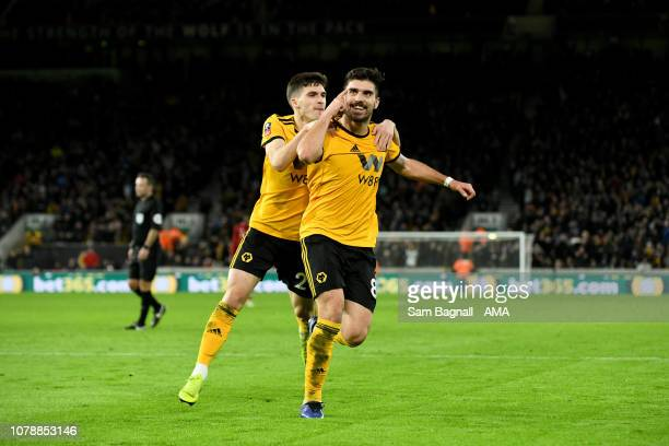 Ruben Neves of Wolverhampton Wanderers celebrates after scoring a goal to make it 2-1 during the Emirates FA Cup Third Round match between...
