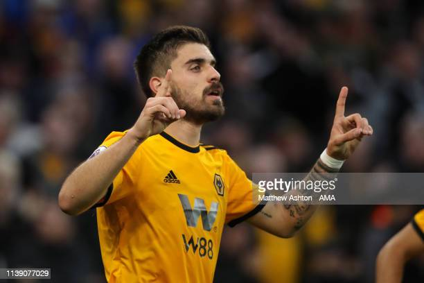 Ruben Neves of Wolverhampton Wanderers celebrates after scoring a goal to make it 1-0 during the Premier League match between Wolverhampton Wanderers...
