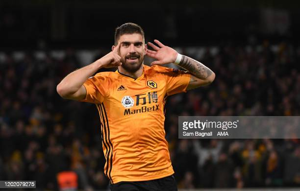 Ruben Neves of Wolverhampton Wanderers celebrates after scoring a goal to make it 2-0 during the UEFA Europa League round of 32 first leg match...