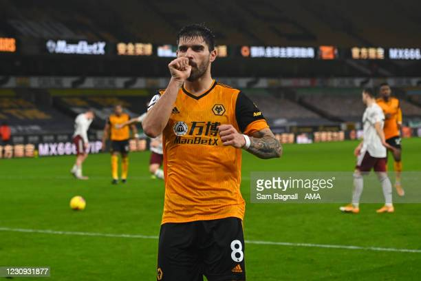 Ruben Neves of Wolverhampton Wanderers celebrates after scoring a goal to make it 1-1 during the Premier League match between Wolverhampton Wanderers...
