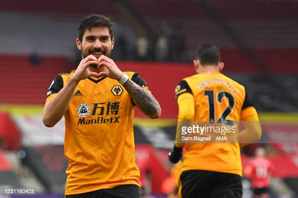 Ruben Neves of Wolverhampton Wanderers celebrates after scoring a goal to make it 1-1 during the Premier League match between Southampton and...