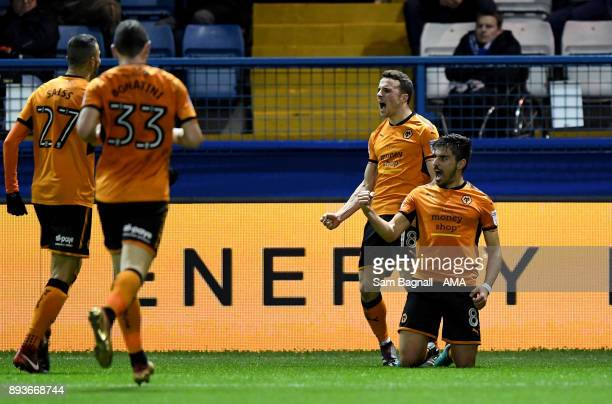 Ruben Neves of Wolverhampton Wanderers celebrates after scoring a goal to make it 01 during the Sky Bet Championship match between Sheffield...