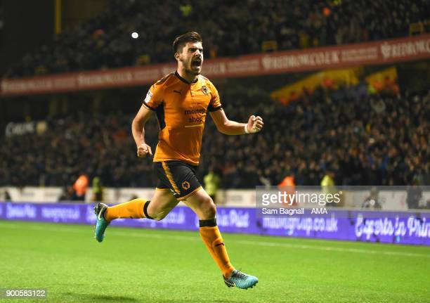Ruben Neves of Wolverhampton Wanderers celebrates after scoring a goal to make it 10 during the Sky Bet Championship match between Wolverhampton and...
