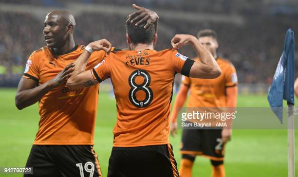 Ruben Neves of Wolverhampton Wanderers celebrates after scoring a goal to make it 01 during of the Sky Bet Championship match between Cardiff City...