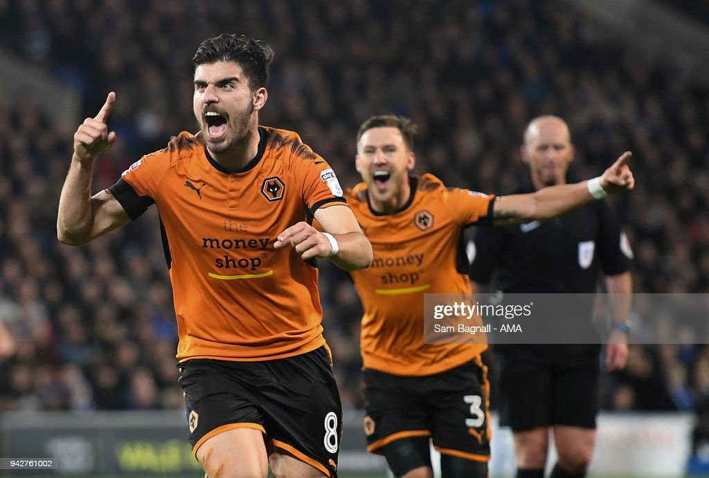Ruben Neves of Wolverhampton Wanderers celebrates after scoring a goal to make it 0-1 during of the Sky Bet Championship match between Cardiff City and Wolverhampton Wanderers at Cardiff City Stadium on April 6, 2018 in Cardiff, Wales.