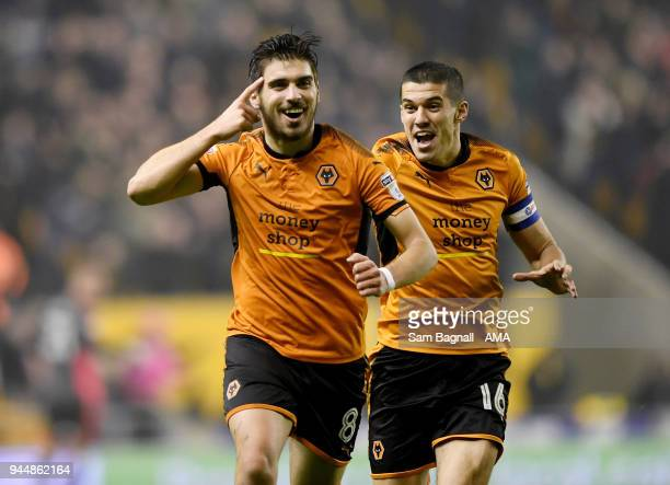 Ruben Neves of Wolverhampton Wanderers celebrates after scoring a goal to make it 20 during the Sky Bet Championship match between Wolverhampton...