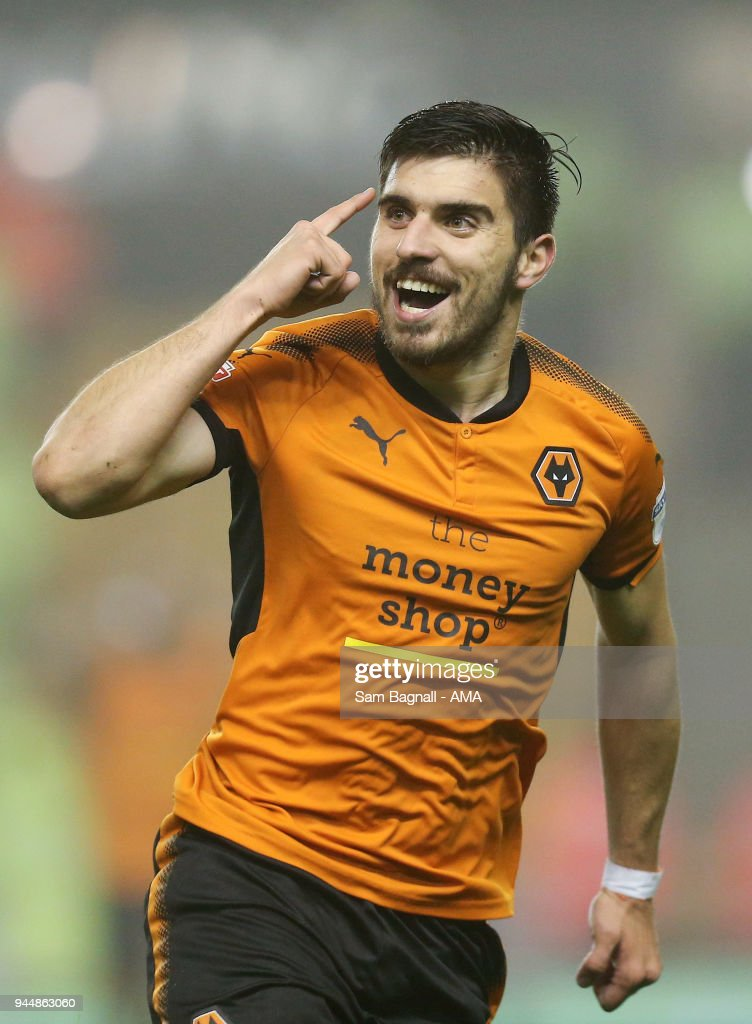 Ruben Neves of Wolverhampton Wanderers celebrates after scoring a goal to make it 2-0 during the Sky Bet Championship match between Wolverhampton Wanderers and Derby County at Molineux on April 11, 2018 in Wolverhampton, England.
