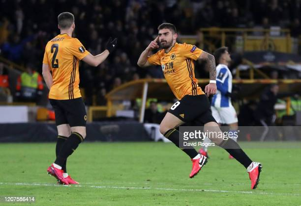 Ruben Neves of Wolverhampton Wanderers celebrates after scoring his team's second goal during the UEFA Europa League round of 32 first leg match...
