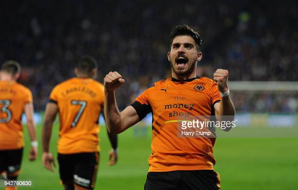 Ruben Neves of Wolverhampton Wanderers celebrates after scoring his sides first goal during the Sky Bet Championship match between Cardiff City and...