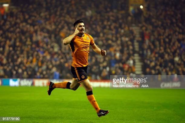 Ruben Neves of Wolverhampton Wanderers celebrates scoring a goal to make it 10 during the Sky Bet Championship match between Wolverhampton and...
