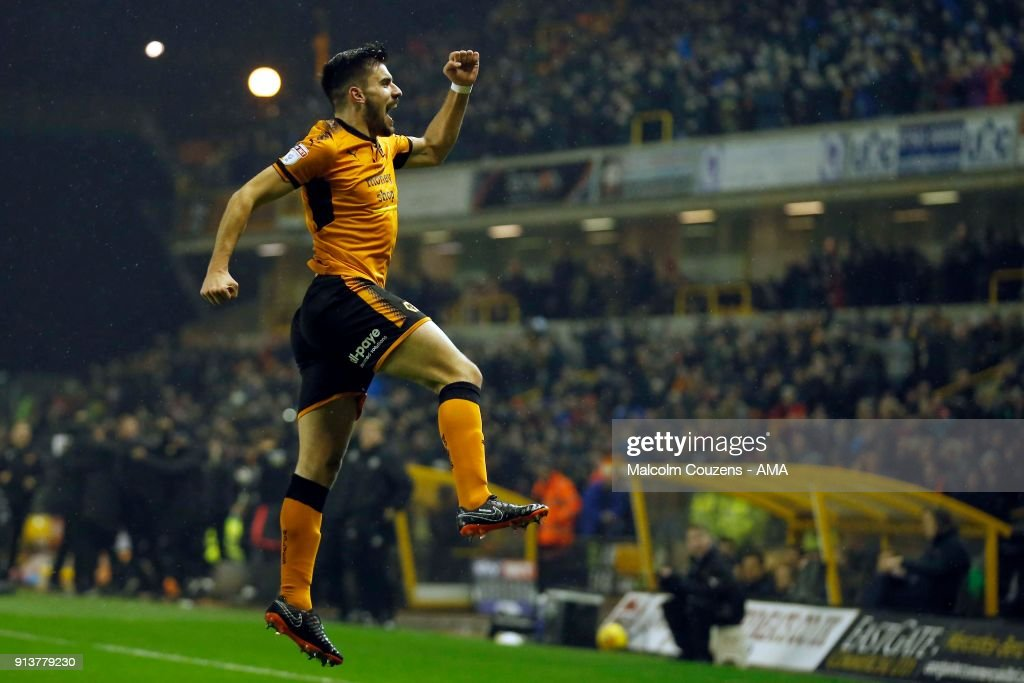 Ruben Neves of Wolverhampton Wanderers celebrates scoring a goal to make it 1-0 during the Sky Bet Championship match between Wolverhampton and Sheffield United at Molineux on February 3, 2018 in Wolverhampton, England.