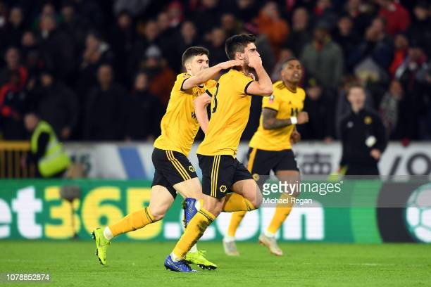 Ruben Neves of Wolverhampton Wanderers celebrates scoring his side's second goal during the Emirates FA Cup Third Round match between Wolverhampton...