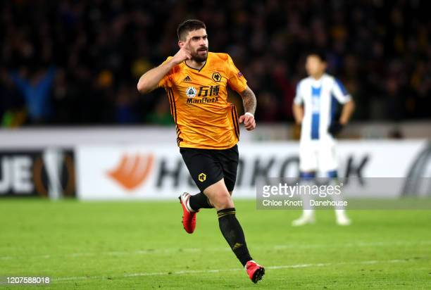 Ruben Neves of Wolverhampton Wanderers celebrates scoring his teams second goal during the UEFA Europa League round of 32 first leg match between...