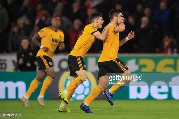 Ruben Neves of Wolverhampton Wanderers celebrates scoring their 2nd goal during the Emirates FA Cup Third Round match between Wolverhampton Wanderers...