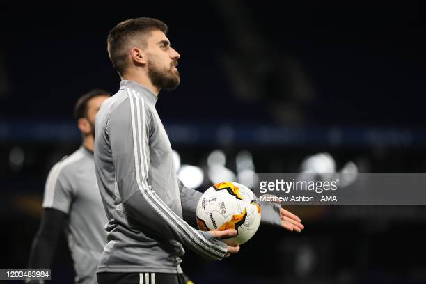 Ruben Neves of Wolverhampton Wanderers during the training session prior to the UEFA Europa League round of 32 second leg match between Espanyol...