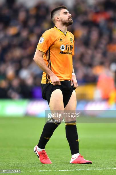 Ruben Neves of Wolverhampton Wanderers reacts after a missed opportunity during the Premier League match between Wolverhampton Wanderers and Brighton...