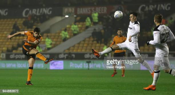Ruben Neves of Wolverhampton Wanderers scores a brilliant second half goal during the Sky Bet Championship match between Wolverhampton Wanderers and...