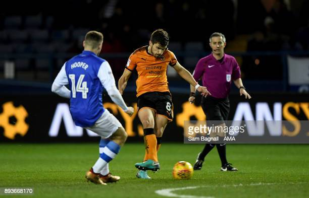 Ruben Neves of Wolverhampton Wanderers scores a goal to make it 01 during the Sky Bet Championship match between Sheffield Wednesday and...
