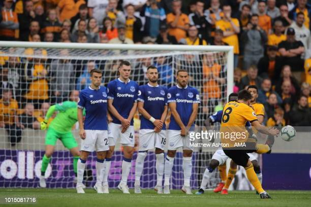 Ruben Neves of Wolverhampton Wanderers scores a goal to make it 11 during the Premier League match between Wolverhampton Wanderers and Everton FC at...