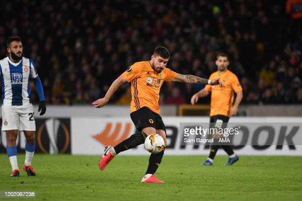 Ruben Neves of Wolverhampton Wanderers scores a goal to make it 2-0 during the UEFA Europa League round of 32 first leg match between Wolverhampton...