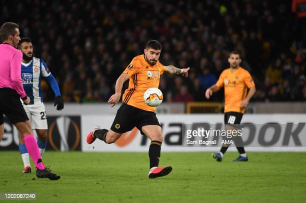Ruben Neves of Wolverhampton Wanderers scores a goal to make it 20 during the UEFA Europa League round of 32 first leg match between Wolverhampton...