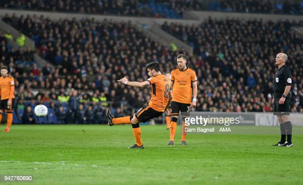 Ruben Neves of Wolverhampton Wanderers scores a goal to make it 20 during of the Sky Bet Championship match between Cardiff City and Wolverhampton...