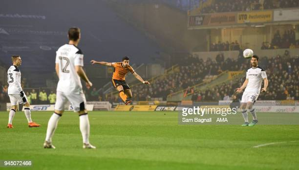 Ruben Neves of Wolverhampton Wanderers scores a goal to make it 20 during the Sky Bet Championship match between Wolverhampton Wanderers and Derby...
