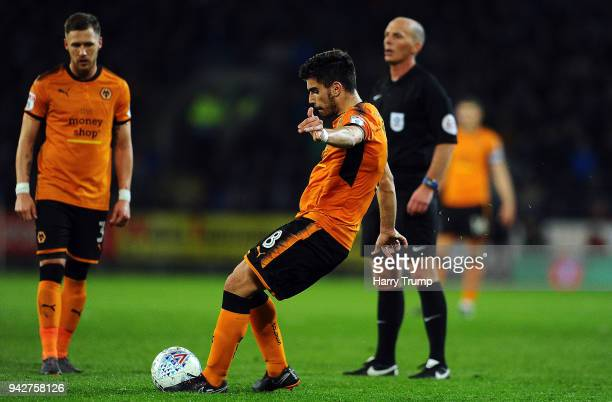 Ruben Neves of Wolverhampton Wanderers scores his sides first goal during the Sky Bet Championship match between Cardiff City and Wolverhampton...