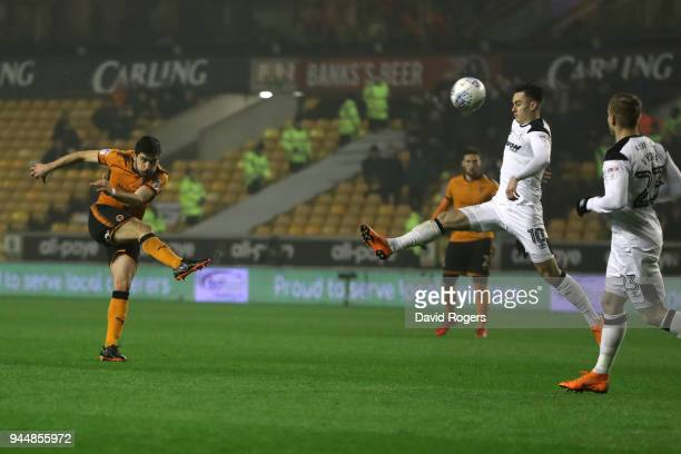 Ruben Neves of Wolverhampton Wanderers scores his sides second goal during the Sky Bet Championship match between Wolverhampton Wanderers and Derby...